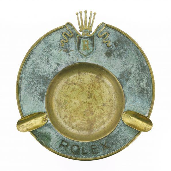 Vintage Rare ROLEX Brass Ashtray 1950s, Big Crown, Dealer's Display, Unpolished