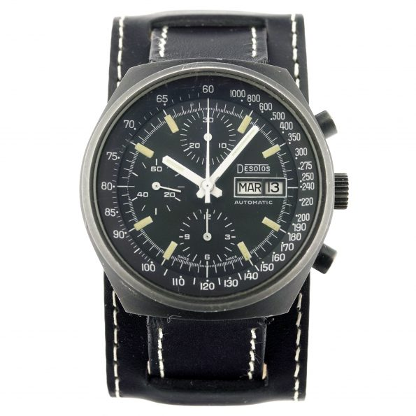 DESOTOS Automatic Chronograph Watch, Day/Date, Valjoux 7750, Black PVD, 1970s