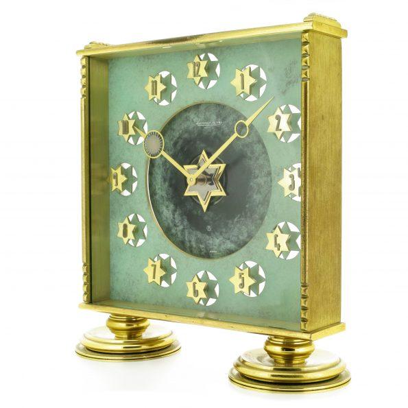 Rare JAEGER LECOULTRE 'Star of David' 8-Days Desk Clock, Ref. 267, Jewish Shield