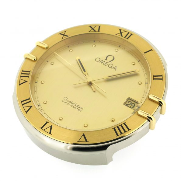 Original Swiss Made Brass OMEGA CONSTELLATION Chronometer Desk/Table Clock, 90s