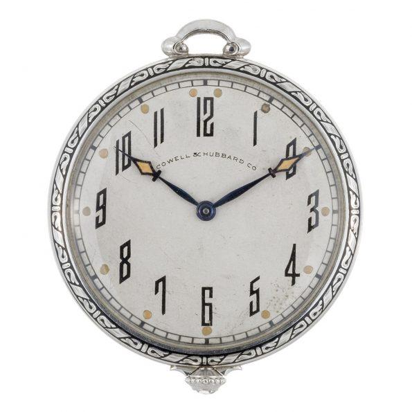Art Deco C.H.MEYLAN 950 Platinum Diamond Pocket Watch, Cowell & Hubbard Co, 1910