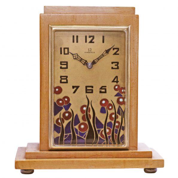 Omega Art Deco Desk Enamel Clock, 10.008