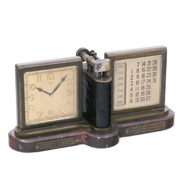 E. Gubelin Art deco Clock with Calendar and Lighter, Ref. 7375