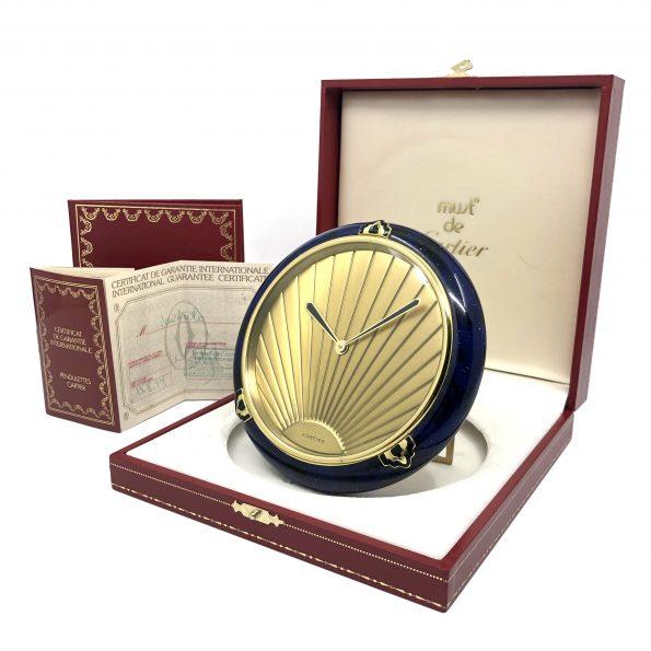 Must de Cartier Art Deco Fine Brass & Lacquer Quartz Desk Clock w/Sunburst Dial