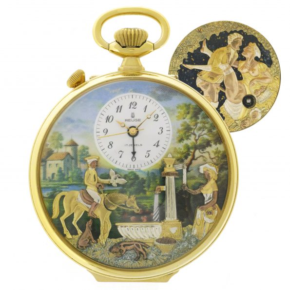 Rare REUGE Erotic Automaton Musical Alarm Pocket Watch, Box&Papers, MINT
