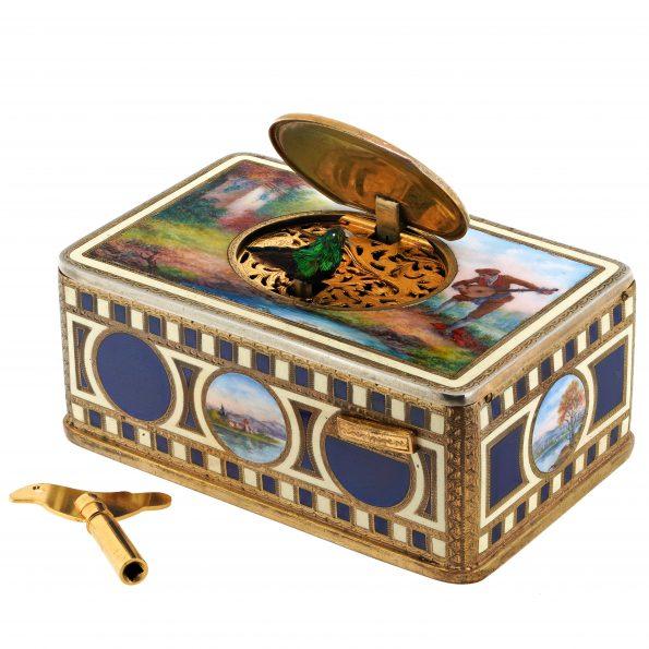 Griesbaum Enamel Singing Bird Box